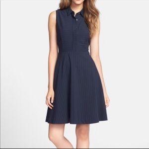 Vince Camuto Collar Pinstripe Sleeveless Dress